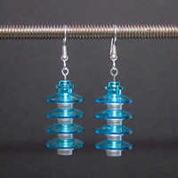Blue and silver Lego earrings with silver plated ear wires