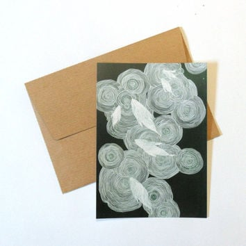 Postcard with envelope, underwater pattern, fish drawing, sea life, water drawing, illustration, acrylic painting, abstract drawing