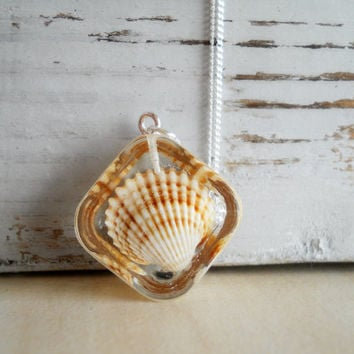 Sterling silver chain necklace, real shell square pendant, resin jewelry, holiday accessory