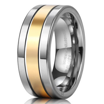 King Will 8mm Tungsten Ring Men's Wedding Band Grooved 14k Gold Two Tone Groo...
