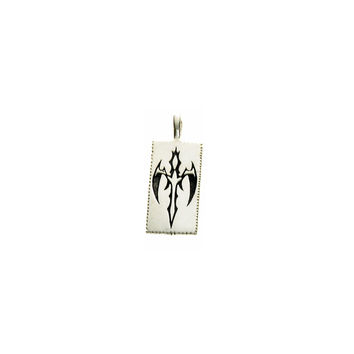 Tattoo Gothic Cross Sterling Silver Dog Tag Charm