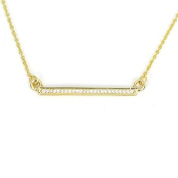 Yellow Gold Vermeil Dainty CZ Lined Bar Necklace
