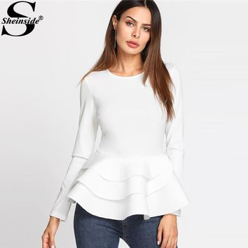 Sheinside Round Neck Tiered Ruffle Hem Long Sleeve Peplum Blouse White Tiered Layer Plain Top Women Elegant Blouse