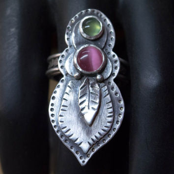 Boho silver ring, Statement ring, Gemstone ring, Bezel set ring, Large sterling silver ring, One of a kind, Unique, Only one at size 8 US.