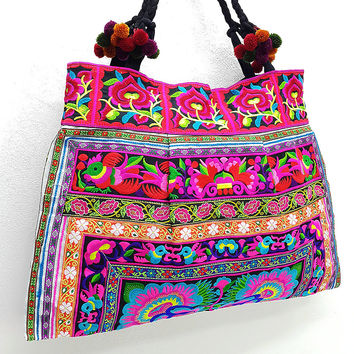Thai Hill Tribe Bag Pom Pom Hmong Embroidered Ethnic Purse Woven Bag Hippie Bag Hobo Bag Boho Bag Shoulder Bag: Hot Pink Blue