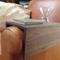 Couch Arm Wrap Solid Walnut Wood Sofa TV Tray