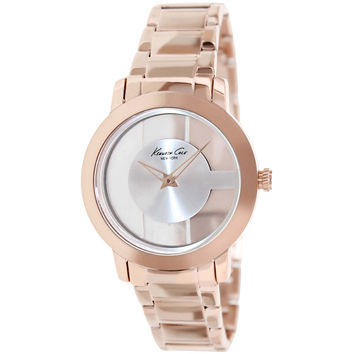 Kenneth Cole KC4926 Women's New York Silver Transparent Dial Rose Gold Steel Bracelet Watch