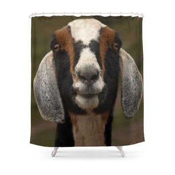 Society6 Goat Smile... Shower Curtain