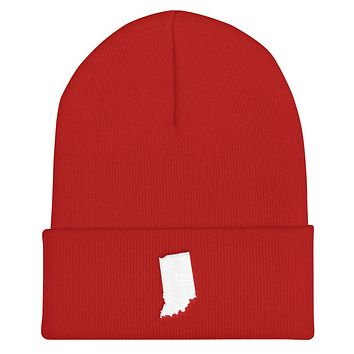 Indiana Embroidered State Shape Cuffed Beanie