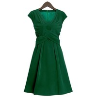 Leaf-green Jersey Dress TFIS01G - Designer Shoes|Bqueenshoes.com