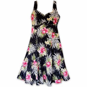 Hibiscus Isles Black Molokini Hawaiian Dress
