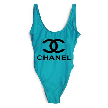 Chanel Trendy Sexy Women Delicate Pieces Stylish Bikini Swimsuit F-ZDY-AK Blue+black letters