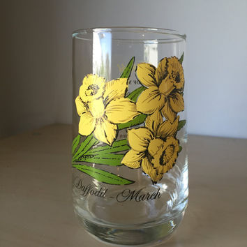 Vintage Flower of the Month Series Drinking Glass, March Daffodil, Yellow Floral Glass Cup, Glassware, Birthday Gift