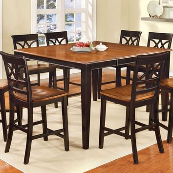 Furniture of america CM3552BC-PT 7 pc torrington ii collection country style two tone vintage black and oak finish wood counter height dining table set with wood seats