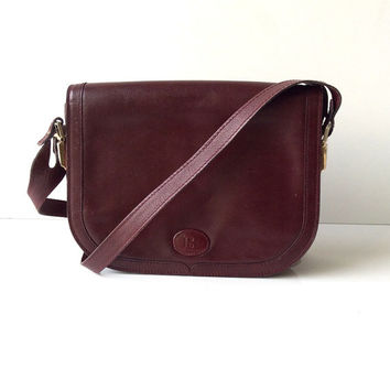 Bally Burgundy Leather Cross Body Bag