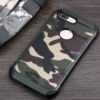 KEYSION Phone Case for iPhone 7 7Plus 2in1 Armor Hybrid Plastic+TPU Army Camo Camouflage Back cover for iphone7 7Plus