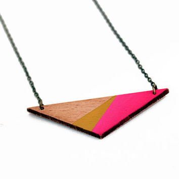Triangle geometric wooden necklace - pink, mustard yellow, natural wood - minimalist, modern jewelry