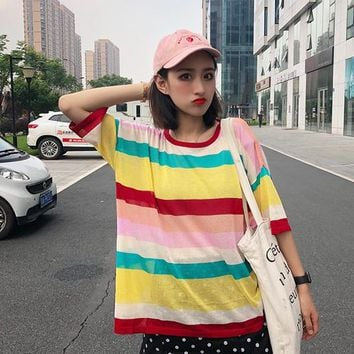 Summer bts kawaii women's clothing tops Korea popular Harajuku loose ice silk rainbow stripes casual micro-transparent T-shirt