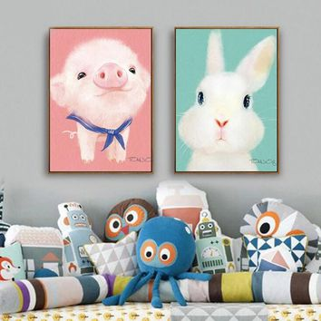 Cute Animal Poster Print Modern Nordic Cartoon Nursery Wall Art Picture Kids Baby Room Decor Canvas Painting No Frame