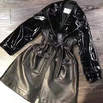 Trendy 2018 new design fashion women leather jacket runway outwear high quality sheepskin  coats AT_94_13