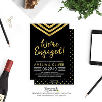 Printable Wedding Engagement Party Invitation, Elegant Engagement Party, We're Engaged, Modern Chevron Engagement Party Invite, black