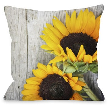 """""""Fresh Picked Sunflowers"""" Outdoor Throw Pillow by OneBellaCasa, 16""""x16"""""""