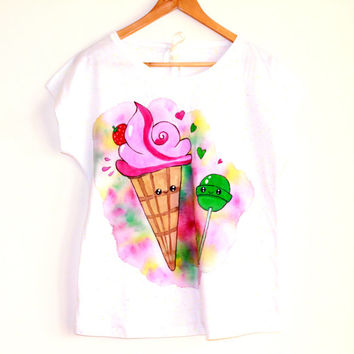 Sweet love handpainted t-shirt , unique handmade clothing,summer woman colourful t-shirt