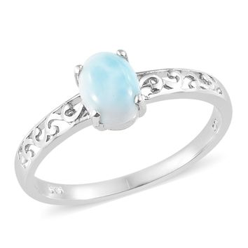 Larimar Platinum Over Sterling Silver Ring TGW 1.1 ct