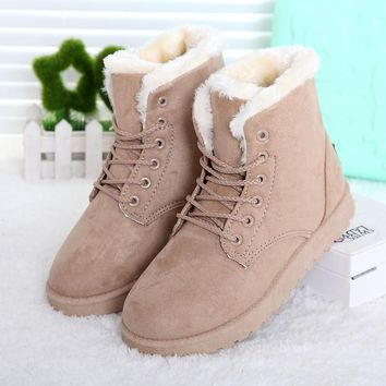 Hot Women Boots Snow Warm Winter Boots Botas Mujer Lace Up Fur Ankle Boots Ladies Wint
