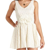 FLOWER BELT LACE SKATER DRESS