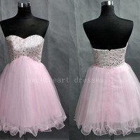 Blush Pink Beaded Crystals Short Knee Length Tulle Bridesmaid Dress