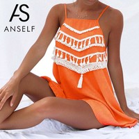 Elegant Tassel Women Beach Dress Sexy Backless Casual Summer Dress Ladies Short Party Dresses