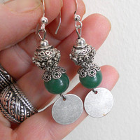 Jade drop earrings,  Silver and green jade dangle earrings, gypsy ethnic jewelry