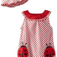 Young Hearts Baby Girls' 2 Piece Ladybug Sunsuit and Hat, Red, 24 Months