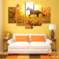 5 Piece Wall Art Sunset Landscape Forest Horse Paintings Pictures for Living Room Modern Home Decor Canvas Prints Unframed
