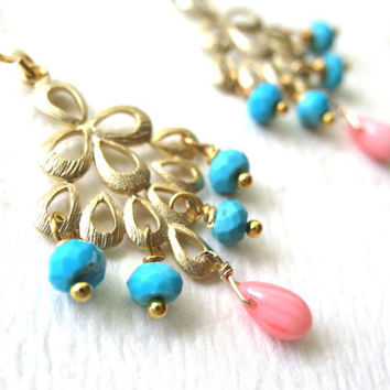 BRIDESMAIDS Gifts, BRIDAL Jewelry -Turquoise Earrings, Sleeping Beauty Earrings,Turquoise Pink Coral Earrings, Wedding Jewelry, Blue Jewelry