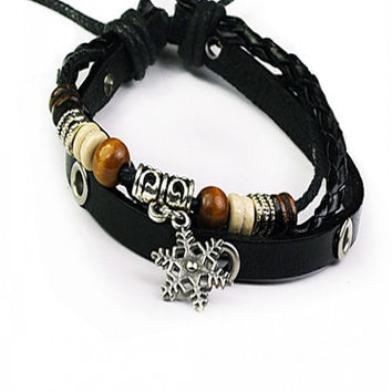 Gift Shiny Awesome Stylish New Arrival Hot Sale Great Deal Leather Cool Accessory Ring Korean Men Bracelet [6526722883]