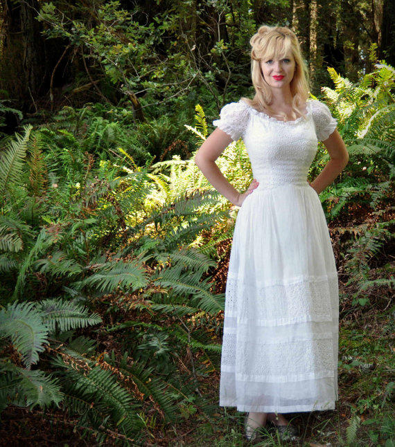 Vintage 50s wedding dress in white eyelet from daintyrascal on for White cotton eyelet wedding dress