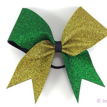 Two color glitter bow. Green and gold glitter bow