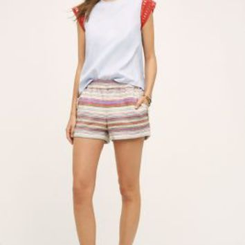 Corey Lynn Calter Fringed Stripe Shorts in Multi Size: