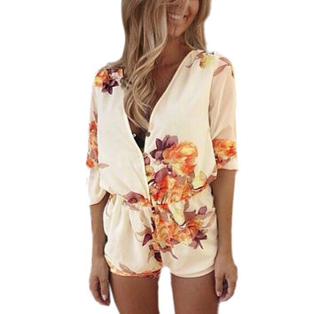 ZANZEA 2016 Women Spring Summer Sexy V neck Short Jumpsuits Flower Print Chiffon Playsuit Rompers Bodysuit Overall Plus Size