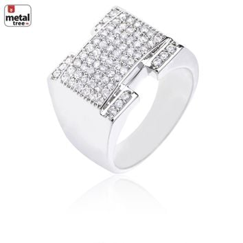Jewelry Kay style Men's Hip Hop Iced Out Brass RH Plated Hand Set CZ Rectangle Pinky Ring Silver