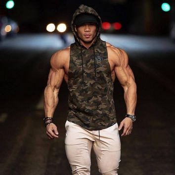 Mens Gyms Hoodie Singlets Sweatshirts sleeveless hoodies Stringer Bodybuilding Fitness male waistcoat Shirts Casual hoodies