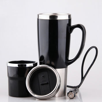 Car Heating Cup Auto 12-24V Heating Cup Electric Kettle Cars Thermal Heater Cups Boiling Water Bottle Auto Accessories 450ML