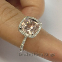 Cushion Morganite Engagement Ring Pave Diamond Wedding 14K White Gold 8mm