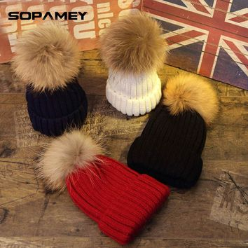Mink and fox fur ball cap pom poms winter hat for women girl 's hat knitted beanies cap brand new thick female cap Hat For Kids