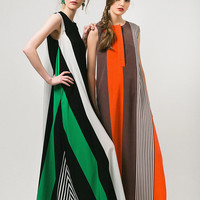Green Dress Color Block Dress Green Stripes Dress Maxi Dress A Line Dress Long Dress