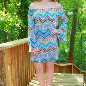 Cathedral Print Bell Sleeve Dress