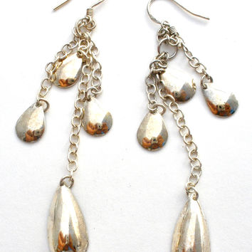 Long Dangle Earrings Sterling Silver Vintage