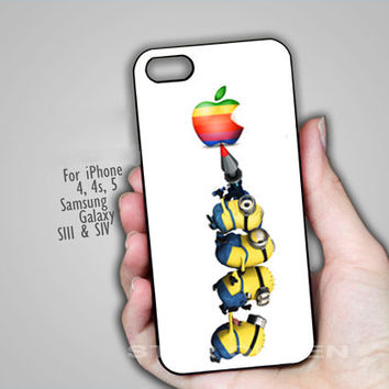 Despicable Me Minions Aple Logo - on Hard Cover For iPhone 4/4S iPhone 5 Case And Samsung Galaxy s3 i9300, Samsung Galaxy s4 i9500 Case